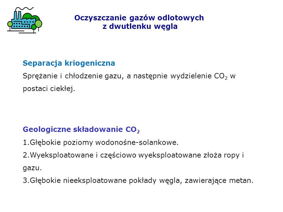 Oczyszczanie gazów odlotowych z dwutlenku węgla Geologiczne składowanie CO 2 1.Głębokie poziomy wodonośne-solankowe.