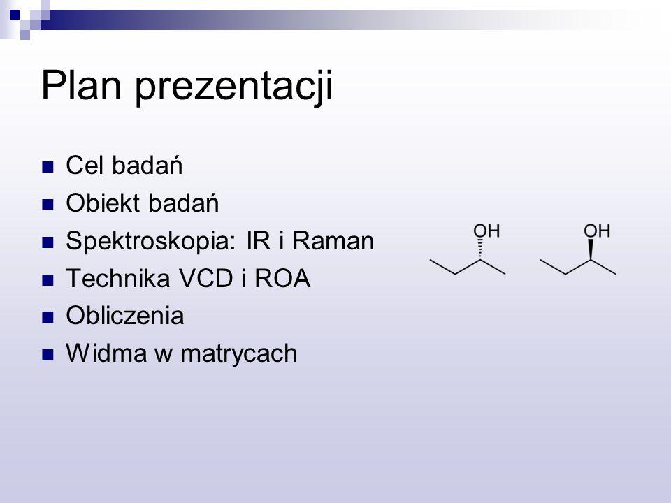 Cel badań Poznanie dokładnej struktury sec-butanolu i jego oddziaływań z innymi molekułami Poznanie wpływu rozpuszczalnika, na widma w podczerwieni Zbadanie mechanizmu indukowania chiralnych efektów w achiralnych molekułach Jednym z celów jest także porównanie technik pomiarowych
