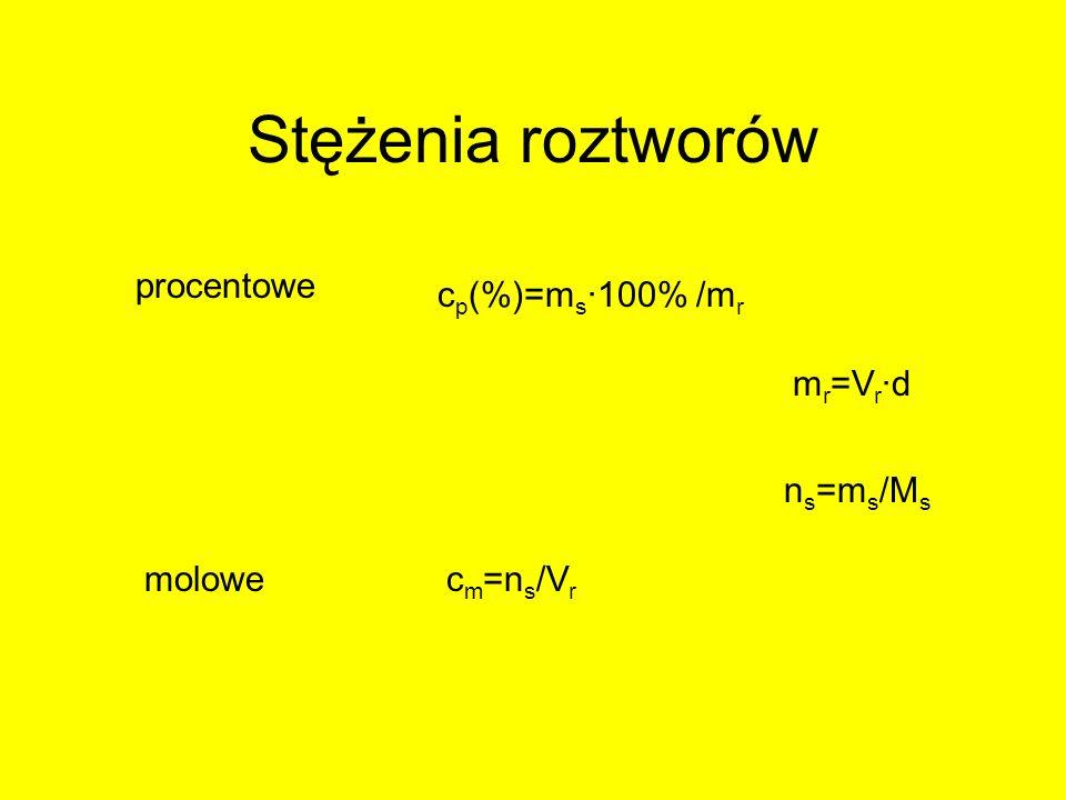 Stężenia roztworów procentowe molowe c p (%)=m s ·100% /m r c m =n s /V r m r =V r ·d n s =m s /M s