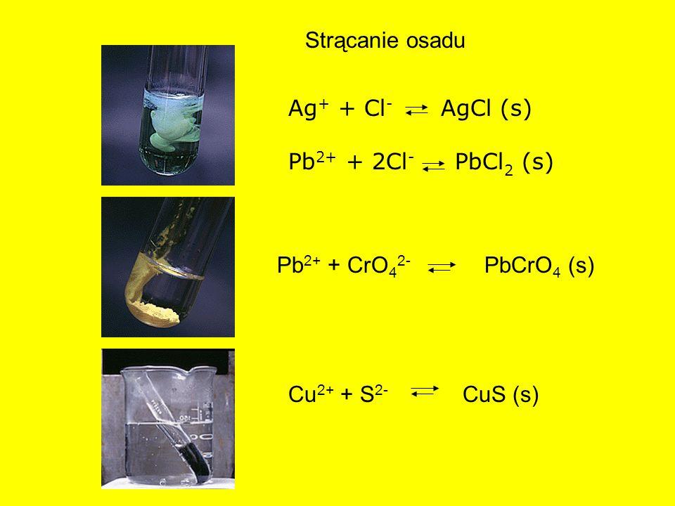 Strącanie osadu Pb 2+ + CrO 4 2- PbCrO 4 (s) Ag + + Cl - AgCl (s) Pb 2+ + 2Cl - PbCl 2 (s) Cu 2+ + S 2- CuS (s)