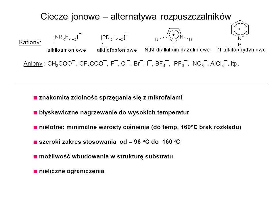 Ciecze jonowe - przykłady Δ c.j.