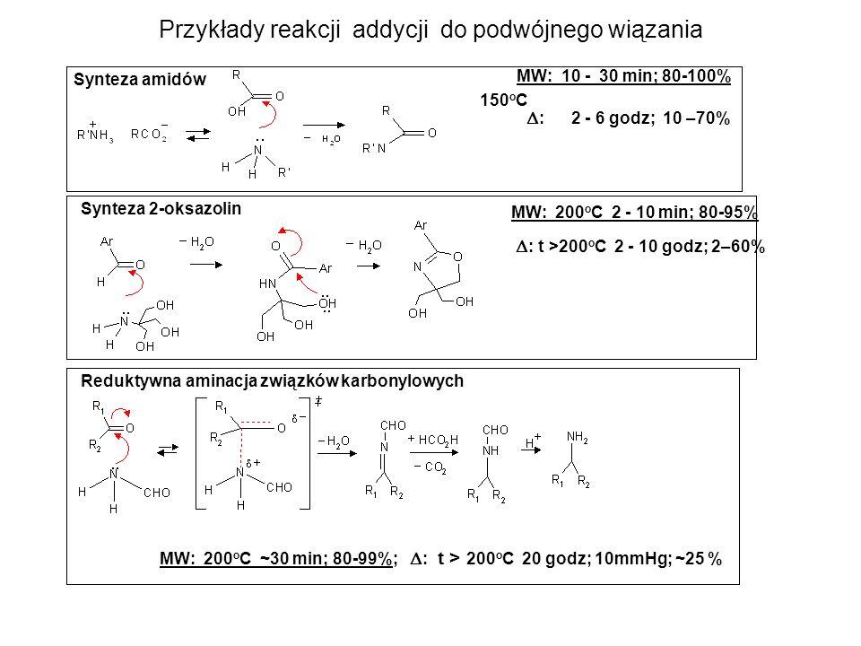 Reakcje dwucząsteczkowe między obojętnymi reagentami prowadzące do naładowanych produktów jonowych stan podstawowy dipolarny stan przejściowy silne efekty mikrofalowe 23 jonowe produkty Przykłady: Alkilowanie pirazoli bez katalizatora zasadowego MW 145 o C 8 min 48 godz