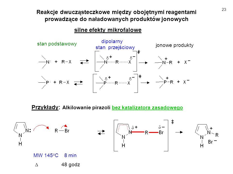 Reakcje dwucząsteczkowe z jednym naładowanym reagentem luźna para jonowa Nu ¯ M + ścisła para jonowa - silny ef MW; N u M + luźna para jonowa – słaby ef MW dipolarny stan przejściowy Reakcje z dodatnio naładowanym reagentem Reakcje z ujemnie naładowanym reagentem