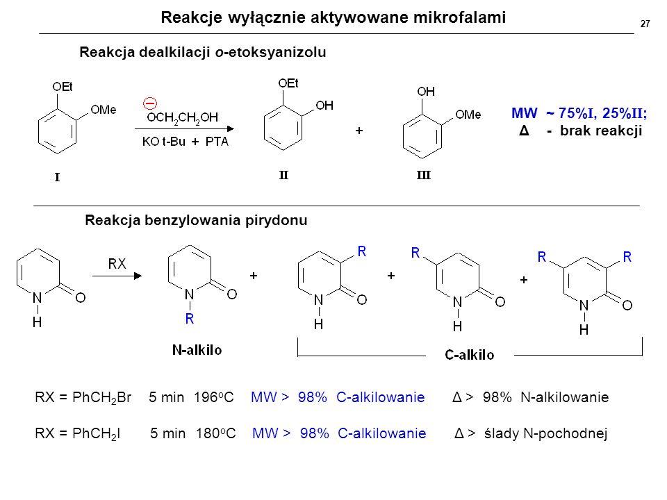 Radiosynteza organiczna wspomagana mikrofalami Metoda dekarboksylacji wykorzystywana wyłącznie ze wspomaganiem mikrofalowym metoda tradycyjna: długotrwała, niewydajna, ogrzewanie w chinolinie, temp.250 o C, kat.