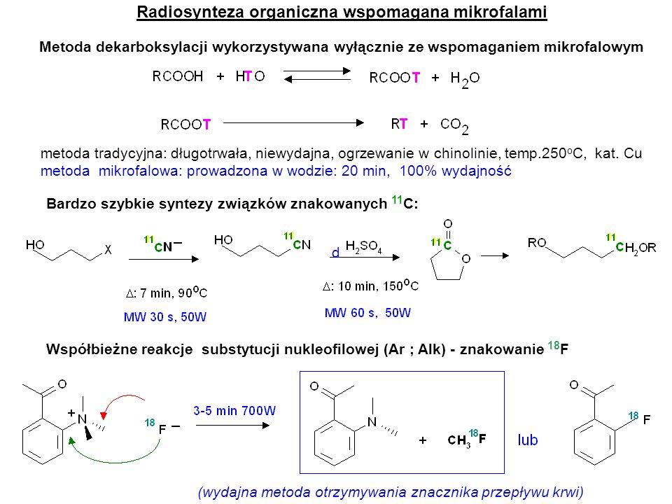 Efekty mikrofalowe Mechanizm reakcji ma podstawowe znaczenie dla efektów mikrofalowych Gdy substratami są cząsteczki obojętne, a reakcja biegnie poprzez polarne stany przejściowe to ich oddziaływanie z mikrofalami stanowi napęd reakcji.