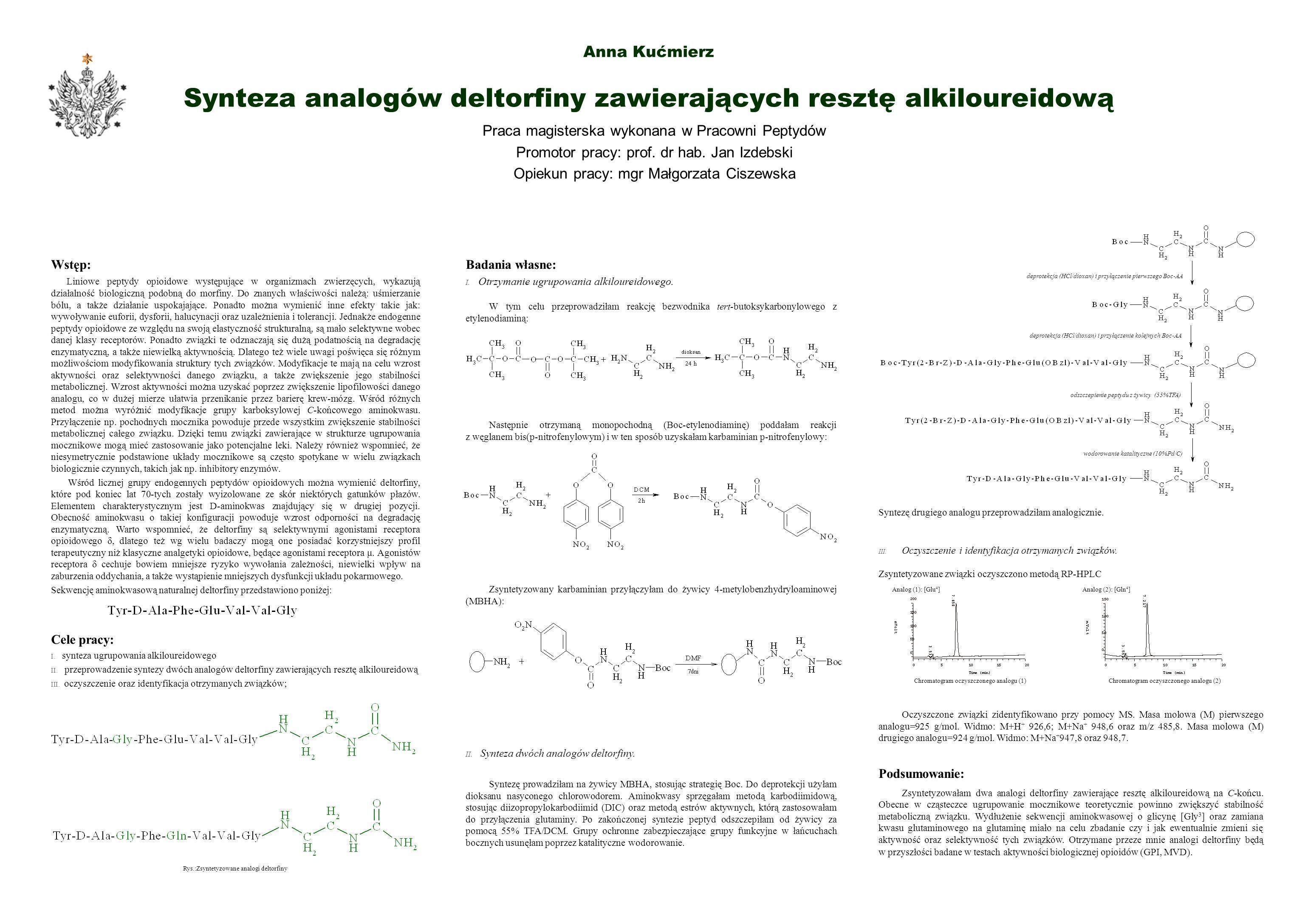 Anna Kućmierz Synteza analogów deltorfiny zawierających resztę alkiloureidową Praca magisterska wykonana w Pracowni Peptydów Promotor pracy: prof. dr