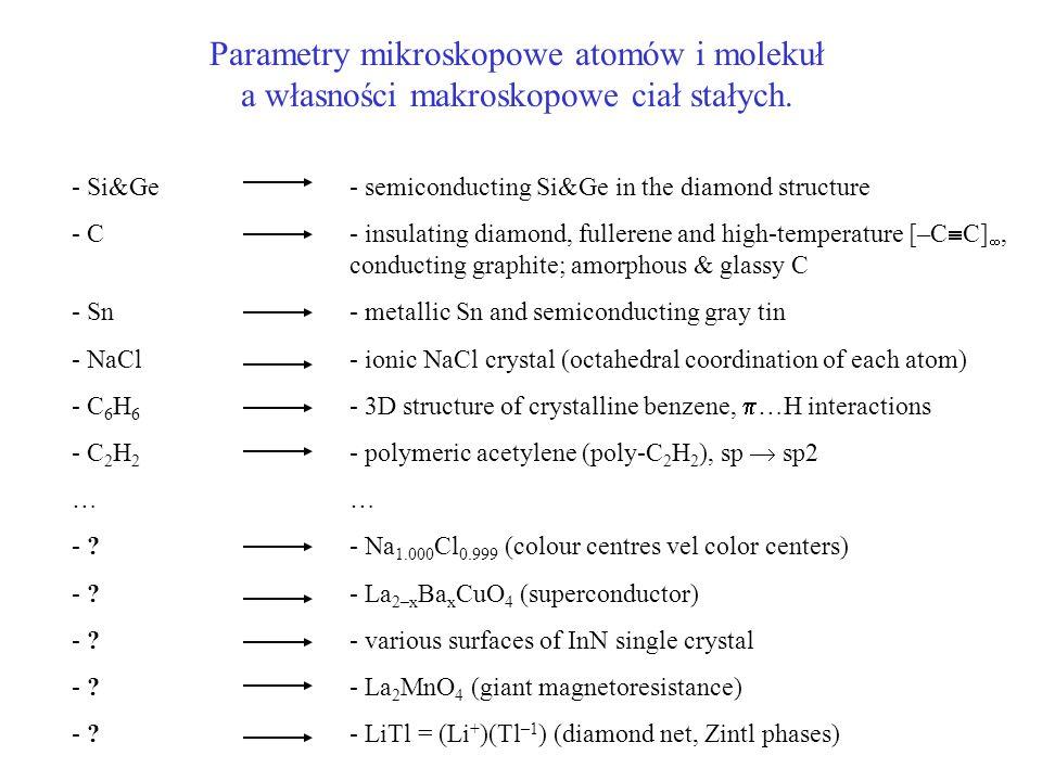 Parametry mikroskopowe atomów i molekuł a własności makroskopowe ciał stałych. - Si&Ge - C - Sn - NaCl - C 6 H 6 - C 2 H 2 … - ? - semiconducting Si&G