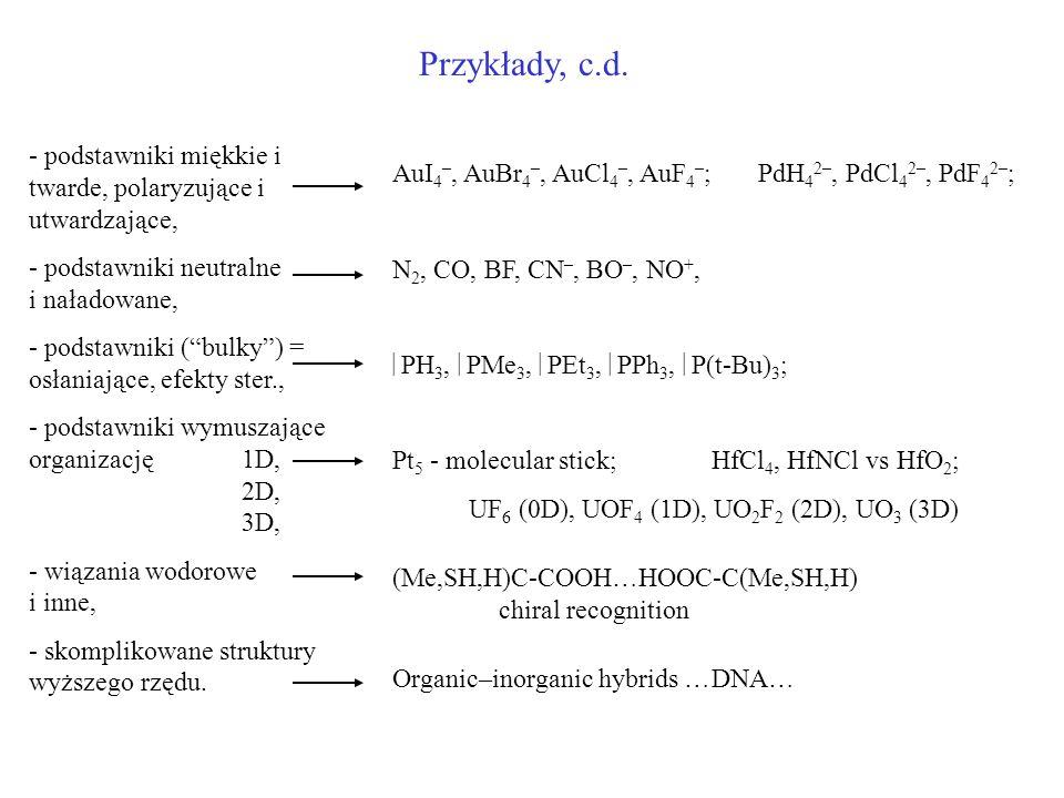 Przykłady, c.d. - podstawniki miękkie i twarde, polaryzujące i utwardzające, - podstawniki neutralne i naładowane, - podstawniki (bulky) = osłaniające