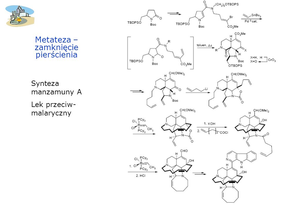 Metateza – zamknięcie pierścienia Synteza manzamuny A Lek przeciw- malaryczny