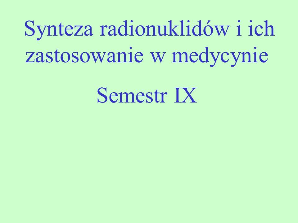Synteza radionuklidów i ich zastosowanie w medycynie Semestr IX