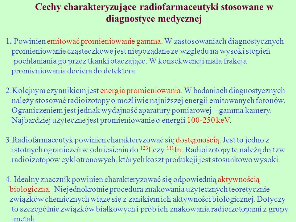 Cechy charakteryzujące radiofarmaceutyki stosowane w diagnostyce medycznej 1. Powinien emitować promieniowanie gamma. W zastosowaniach diagnostycznych