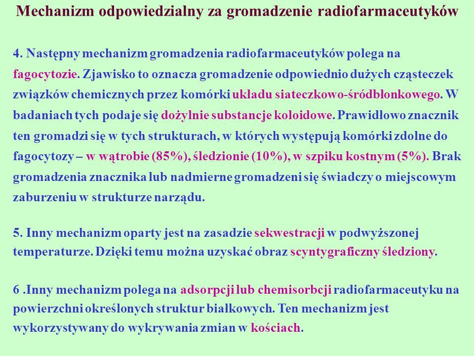 Mechanizm odpowiedzialny za gromadzenie radiofarmaceutyków 4. Następny mechanizm gromadzenia radiofarmaceutyków polega na fagocytozie. Zjawisko to ozn