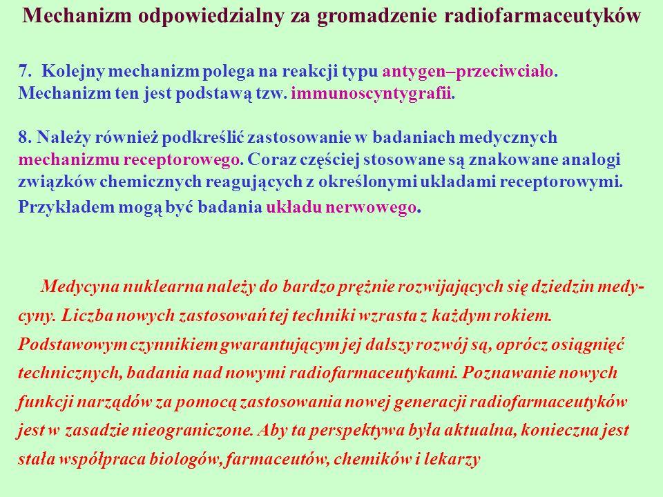 Mechanizm odpowiedzialny za gromadzenie radiofarmaceutyków 7. Kolejny mechanizm polega na reakcji typu antygen–przeciwciało. Mechanizm ten jest podsta