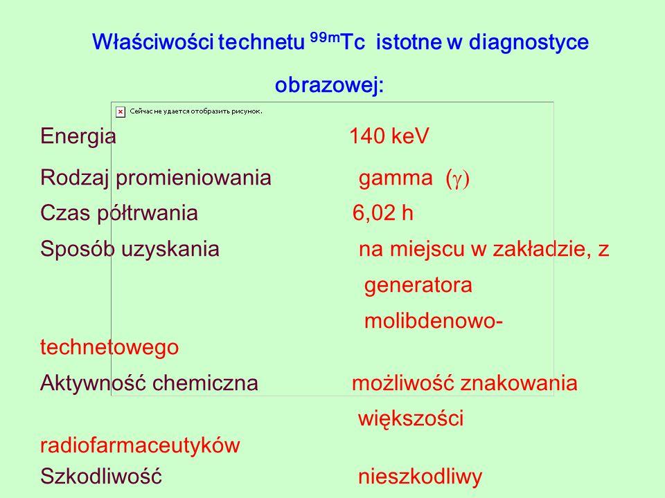 Właściwości technetu 99m Tc istotne w diagnostyce obrazowej: Energia 140 keV Rodzaj promieniowania gamma ( Czas półtrwania 6,02 h Sposób uzyskania na
