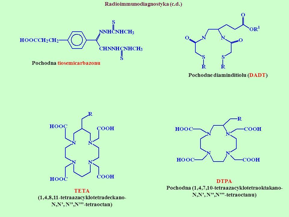 Radioimmunodiagnostyka (c.d.) Pochodna tiosemicarbazonu Pochodne diaminditiolu (DADT) TETA (1,4,8,11-tetraazacyklotetradeckano- N,N, N,N-tetraoctan) D