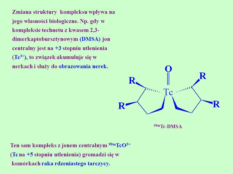 Zmiana struktury kompleksu wpływa na jego własności biologiczne. Np. gdy w kompleksie technetu z kwasem 2,3- dimerkaptobursztynowym (DMSA) jon central