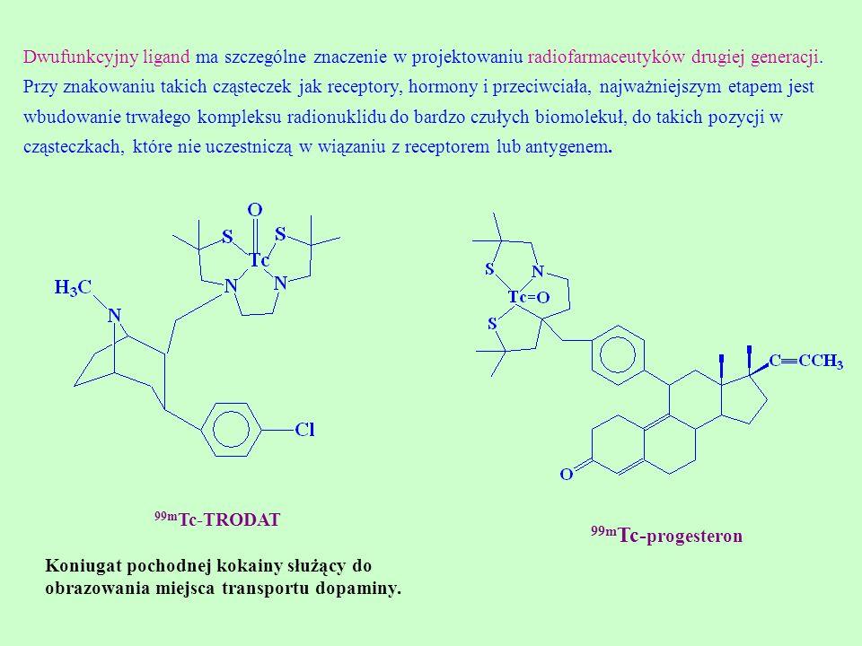 Dwufunkcyjny ligand ma szczególne znaczenie w projektowaniu radiofarmaceutyków drugiej generacji. Przy znakowaniu takich cząsteczek jak receptory, hor