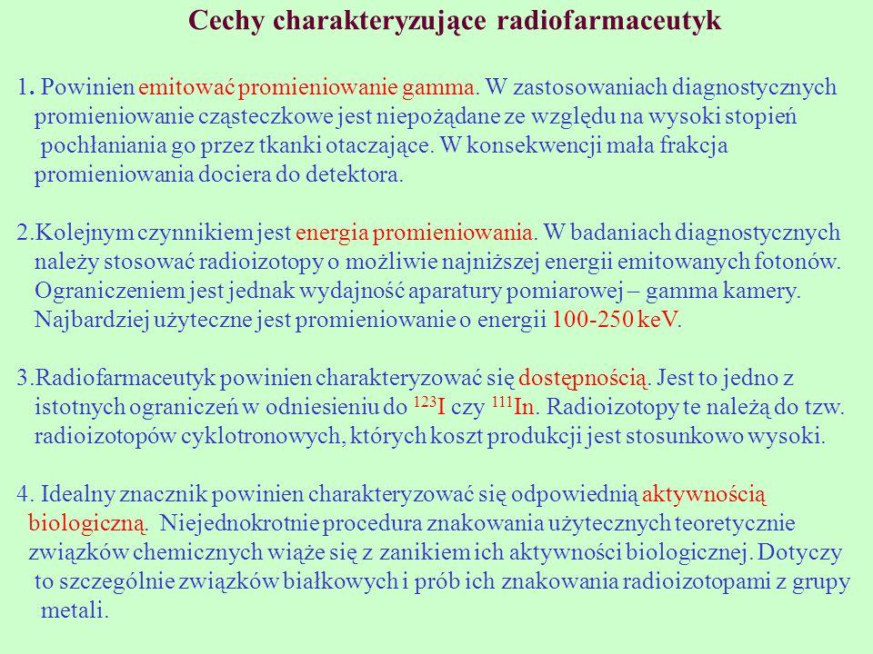 Cechy charakteryzujące radiofarmaceutyk 1. Powinien emitować promieniowanie gamma. W zastosowaniach diagnostycznych promieniowanie cząsteczkowe jest n
