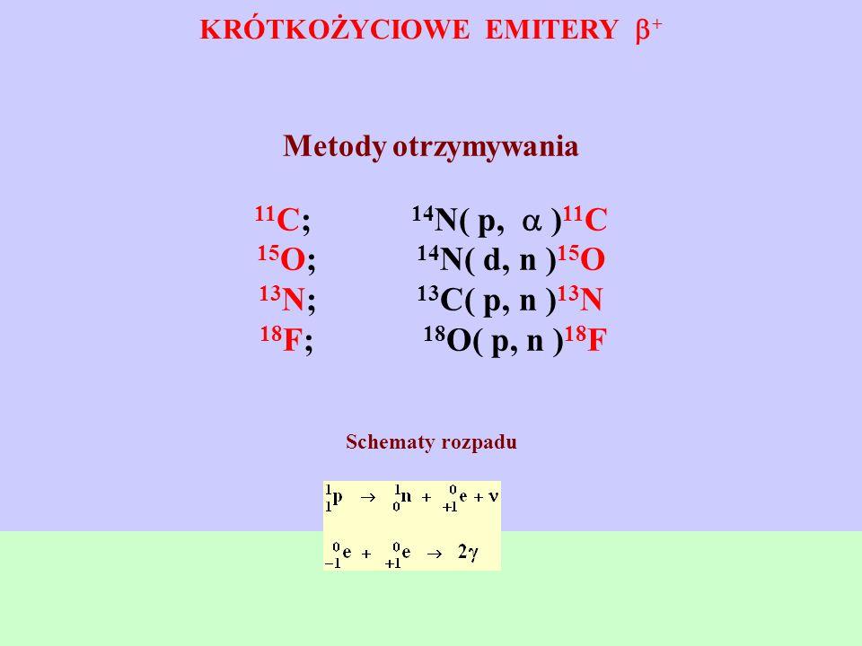 KRÓTKOŻYCIOWE EMITERY + Metody otrzymywania 11 C; 14 N( p, ) 11 C 15 O; 14 N( d, n ) 15 O 13 N; 13 C( p, n ) 13 N 18 F; 18 O( p, n ) 18 F Schematy roz