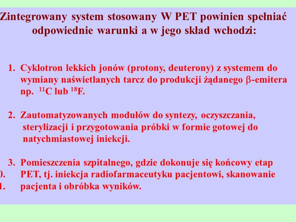 Zintegrowany system stosowany W PET powinien spełniać odpowiednie warunki a w jego skład wchodzi: 1.1. Cyklotron lekkich jonów (protony, deuterony) z