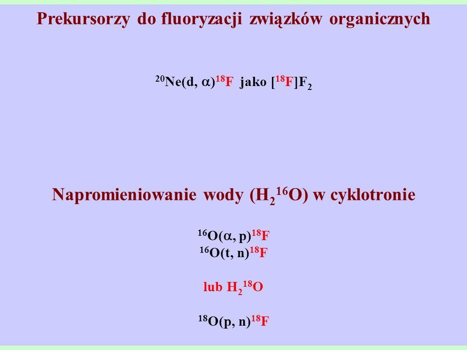 Prekursorzy do fluoryzacji związków organicznych 20 Ne(d, ) 18 F jako [ 18 F]F 2 Napromieniowanie wody (H 2 16 O) w cyklotronie 16 O(, p) 18 F 16 O(t,