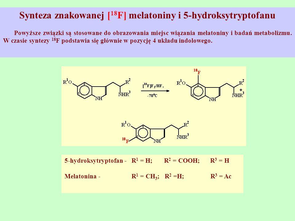Synteza znakowanej [ 18 F] melatoniny i 5-hydroksytryptofanu Powyższe związki są stosowane do obrazowania miejsc wiązania melatoniny i badań metaboliz