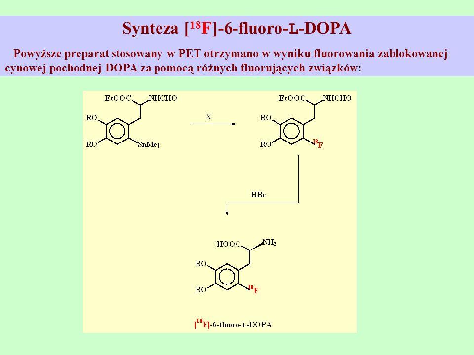 Synteza [ 18 F]-6-fluoro- L -DOPA Powyższe preparat stosowany w PET otrzymano w wyniku fluorowania zablokowanej cynowej pochodnej DOPA za pomocą różny