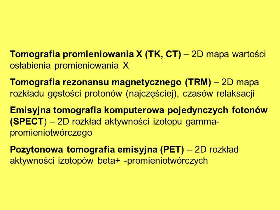 Tomografia promieniowania X (TK, CT) – 2D mapa wartości osłabienia promieniowania X Tomografia rezonansu magnetycznego (TRM) – 2D mapa rozkładu gęstoś