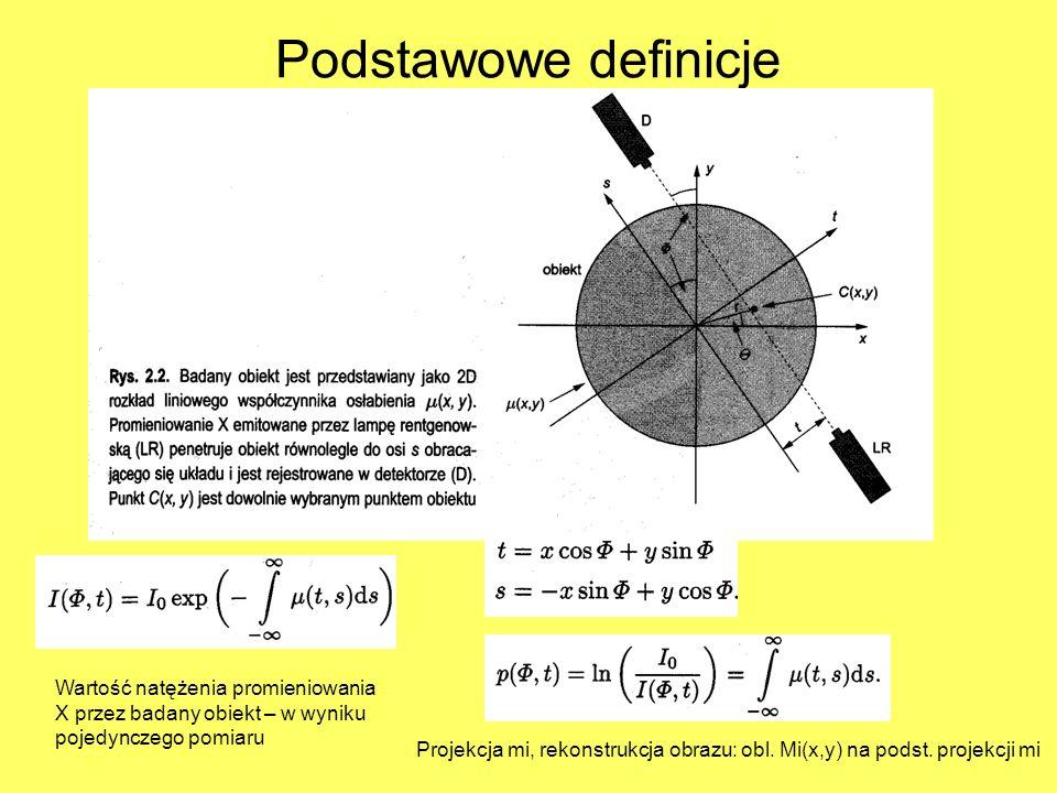 Wartość natężenia promieniowania X przez badany obiekt – w wyniku pojedynczego pomiaru Projekcja mi, rekonstrukcja obrazu: obl. Mi(x,y) na podst. proj