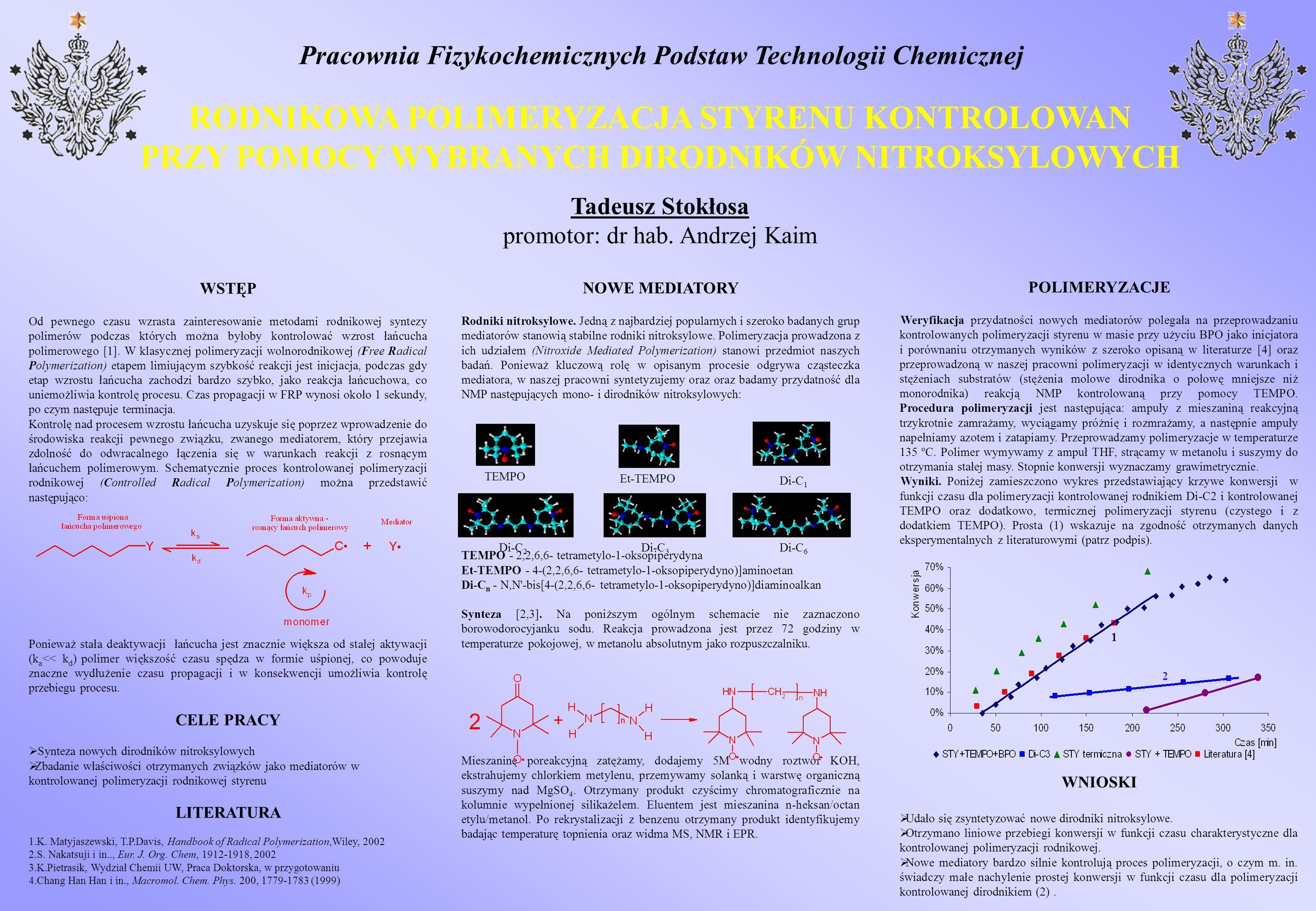 Pracownia Fizykochemicznych Podstaw Technologii Chemicznej RODNIKOWA POLIMERYZACJA STYRENU KONTROLOWAN PRZY POMOCY WYBRANYCH DIRODNIKÓW NITROKSYLOWYCH