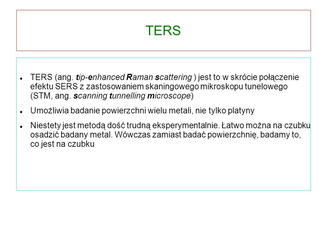 TERS TERS (ang. tip-enhanced Raman scattering ) jest to w skrócie połączenie efektu SERS z zastosowaniem skaningowego mikroskopu tunelowego (STM, ang.
