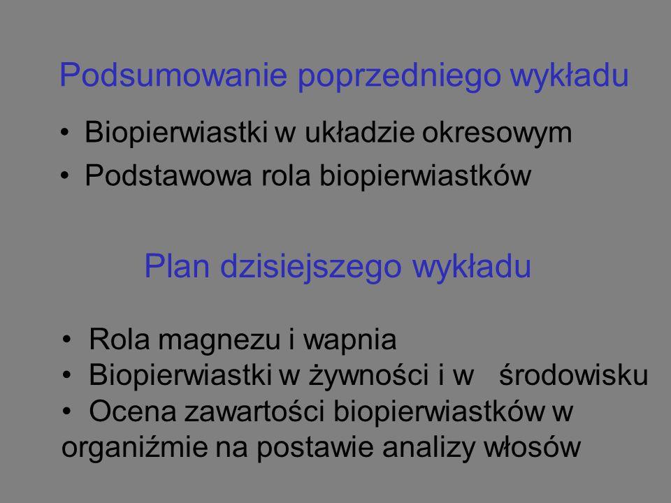 Podsumowanie poprzedniego wykładu Biopierwiastki w układzie okresowym Podstawowa rola biopierwiastków Plan dzisiejszego wykładu Rola magnezu i wapnia Biopierwiastki w żywności i w środowisku Ocena zawartości biopierwiastków w organiźmie na postawie analizy włosów