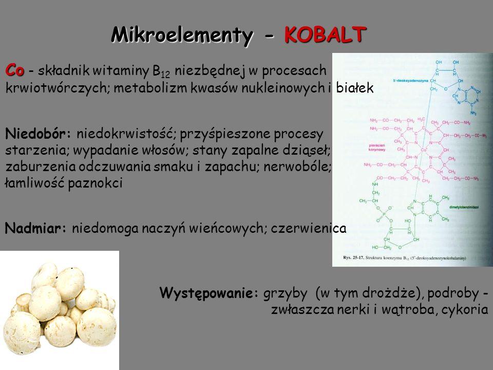 Mikroelementy - KOBALT Co Co - składnik witaminy B 12 niezbędnej w procesach krwiotwórczych; metabolizm kwasów nukleinowych i białek Niedobór: niedokrwistość; przyśpieszone procesy starzenia; wypadanie włosów; stany zapalne dziąseł; zaburzenia odczuwania smaku i zapachu; nerwobóle; łamliwość paznokci Nadmiar: niedomoga naczyń wieńcowych; czerwienica Występowanie: grzyby (w tym drożdże), podroby - zwłaszcza nerki i wątroba, cykoria