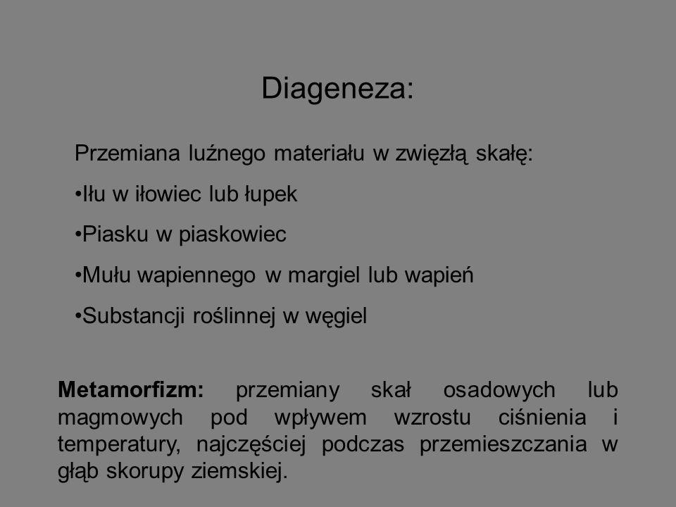 Diageneza: Przemiana luźnego materiału w zwięzłą skałę: Iłu w iłowiec lub łupek Piasku w piaskowiec Mułu wapiennego w margiel lub wapień Substancji ro
