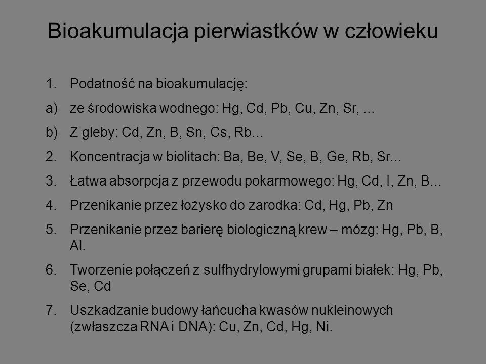 Bioakumulacja pierwiastków w człowieku 1.Podatność na bioakumulację: a)ze środowiska wodnego: Hg, Cd, Pb, Cu, Zn, Sr,... b)Z gleby: Cd, Zn, B, Sn, Cs,