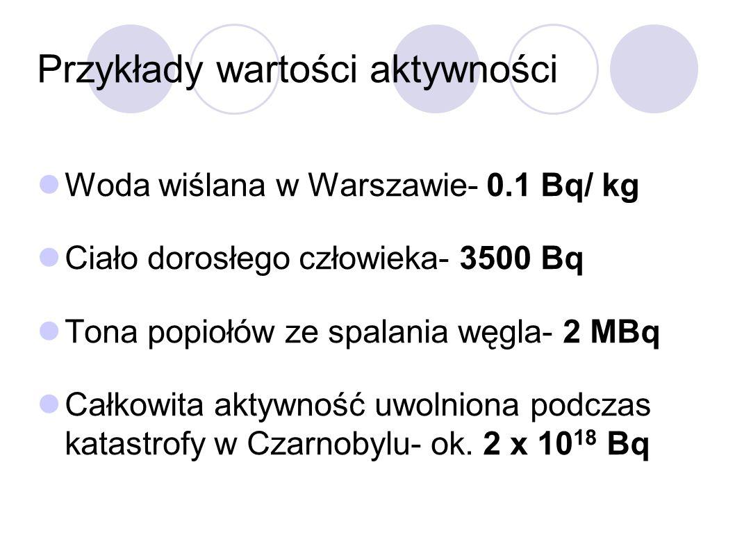 Przykłady wartości aktywności Woda wiślana w Warszawie- 0.1 Bq/ kg Ciało dorosłego człowieka- 3500 Bq Tona popiołów ze spalania węgla- 2 MBq Całkowita