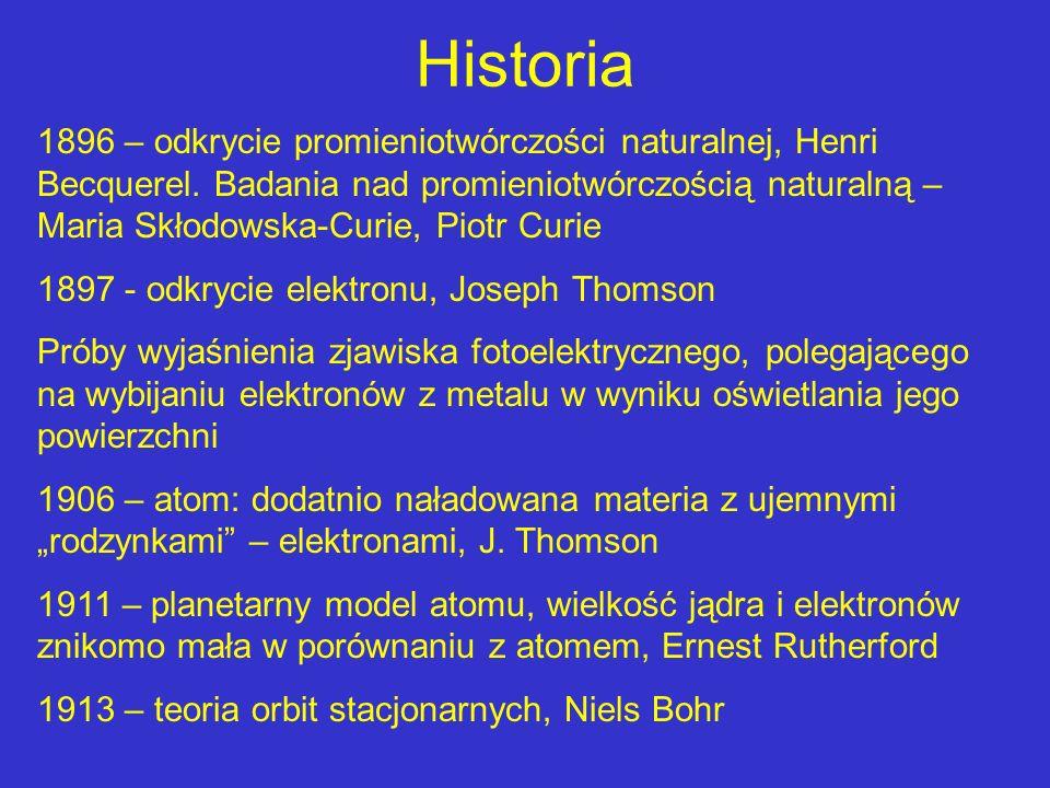 Historia 1896 – odkrycie promieniotwórczości naturalnej, Henri Becquerel. Badania nad promieniotwórczością naturalną – Maria Skłodowska-Curie, Piotr C