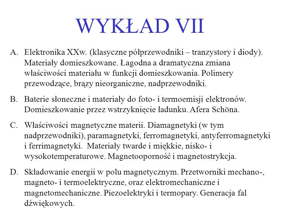 WYKŁAD VII A.Elektronika XXw.(klasyczne półprzewodniki – tranzystory i diody).
