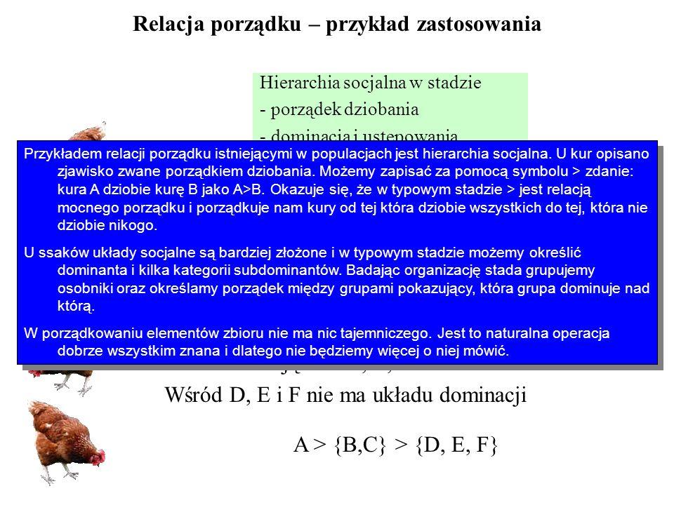 Relacja porządku – przykład zastosowania Hierarchia socjalna w stadzie - porządek dziobania - dominacja i ustępowania A dziobie B, A dziobie C, A dziobie D B dziobie C, B dziobie D C dziobie D A > B > C > D A dominuje na wszystkimi B i C dominują nad D, E, F Wśród D, E i F nie ma układu dominacji A > {B,C} > {D, E, F} Przykładem relacji porządku istniejącymi w populacjach jest hierarchia socjalna.