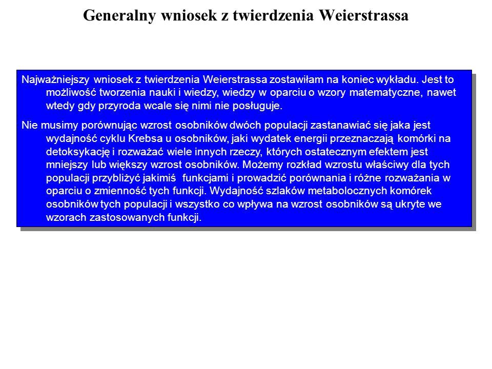 Generalny wniosek z twierdzenia Weierstrassa Wszystkie procesy biologiczne wyrażające się funkcjami liczbowymi możemy przybliżać pewnymi funkcjami dan