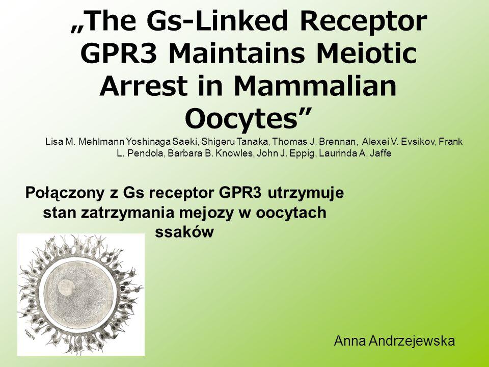 The Gs-Linked Receptor GPR3 Maintains Meiotic Arrest in Mammalian Oocytes Połączony z Gs receptor GPR3 utrzymuje stan zatrzymania mejozy w oocytach ss