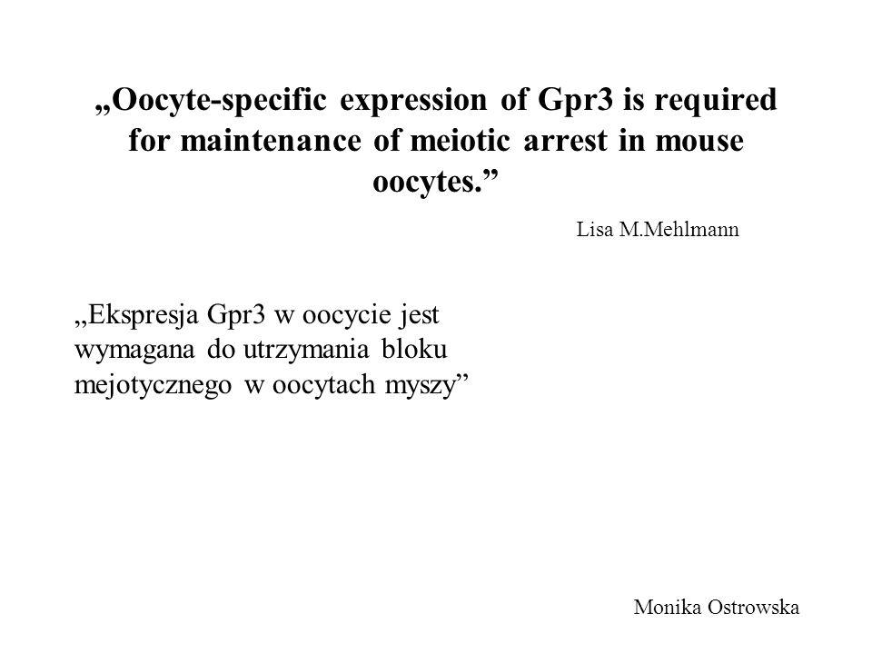 Oocyte-specific expression of Gpr3 is required for maintenance of meiotic arrest in mouse oocytes. Lisa M.Mehlmann Monika Ostrowska Ekspresja Gpr3 w o