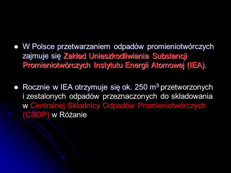W Polsce przetwarzaniem odpadów promieniotwórczych zajmuje się Zakład Unieszkodliwiania Substancji Promieniotwórczych Instytutu Energii Atomowej (IEA)