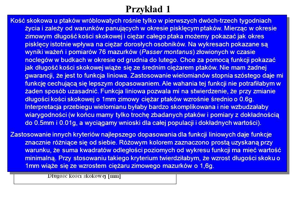 Przykład 1 Różne rodziny funkcji i metoda najmniejszych kwadratów Rodziny funkcji liniowych i różne kryteria dobrego dopasowania funkcji Kość skokowa