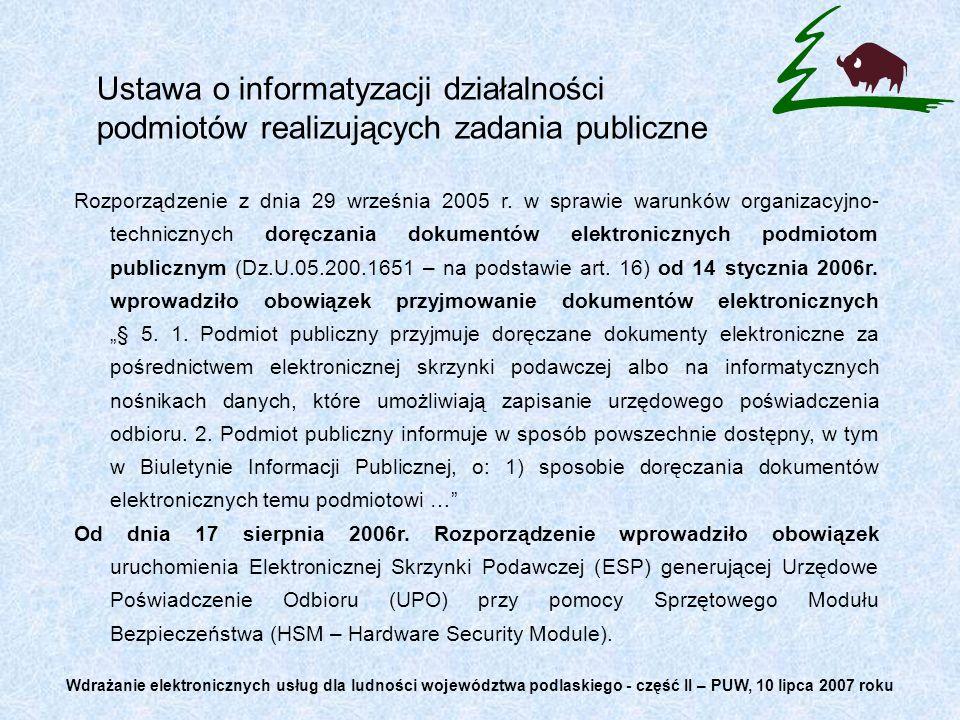 Ustawa o informatyzacji działalności podmiotów realizujących zadania publiczne Rozporządzenie z dnia 29 września 2005 r. w sprawie warunków organizacy