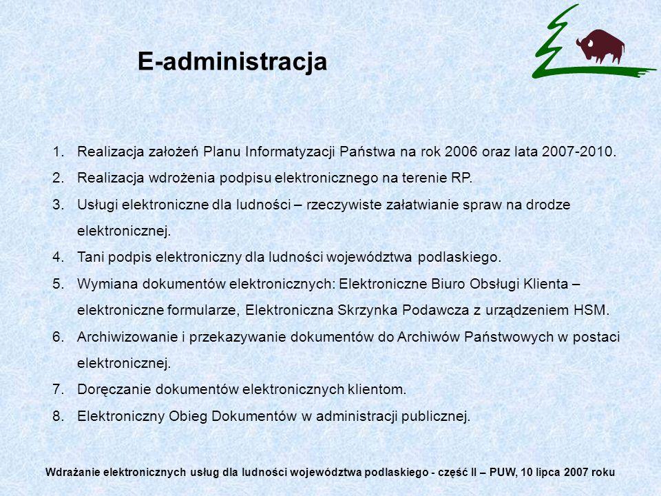 E-administracja 1.Realizacja założeń Planu Informatyzacji Państwa na rok 2006 oraz lata 2007-2010. 2.Realizacja wdrożenia podpisu elektronicznego na t