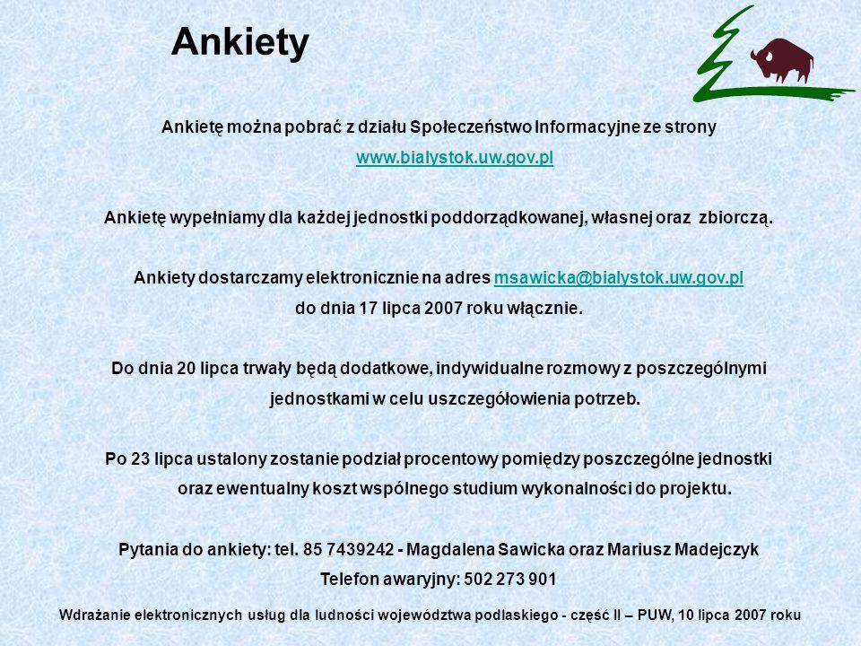 Ankiety Ankietę można pobrać z działu Społeczeństwo Informacyjne ze strony www.bialystok.uw.gov.pl www.bialystok.uw.gov.pl Ankietę wypełniamy dla każdej jednostki poddorządkowanej, własnej oraz zbiorczą.