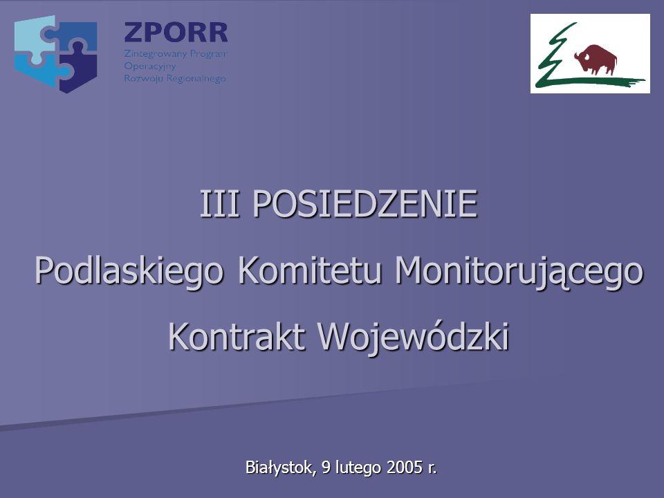 III POSIEDZENIE Podlaskiego Komitetu Monitorującego Kontrakt Wojewódzki Białystok, 9 lutego 2005 r.