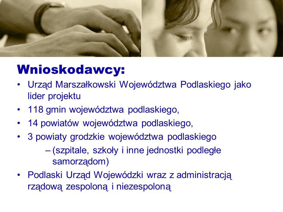 Wnioskodawcy: Urząd Marszałkowski Województwa Podlaskiego jako lider projektu 118 gmin województwa podlaskiego, 14 powiatów województwa podlaskiego, 3