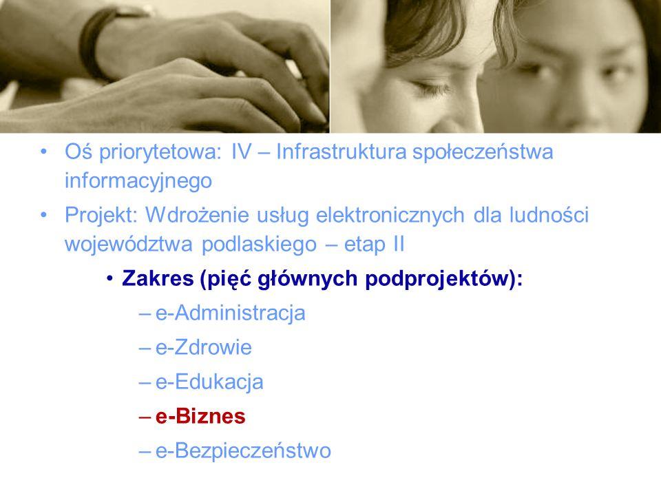 Oś priorytetowa: IV – Infrastruktura społeczeństwa informacyjnego Projekt: Wdrożenie usług elektronicznych dla ludności województwa podlaskiego – etap